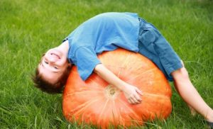 boy on pumpkin