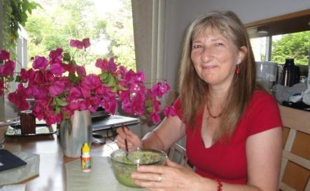 diana with green smoothie