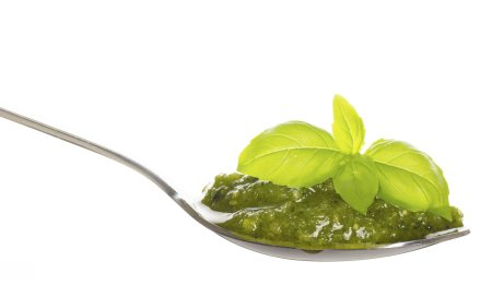 pesto on spoon
