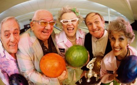 4 elderly silly fun bowling