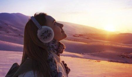 winter sunset girl 450