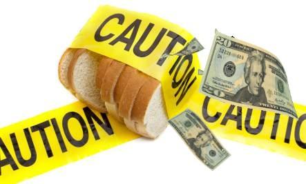gluten free bread slices with money