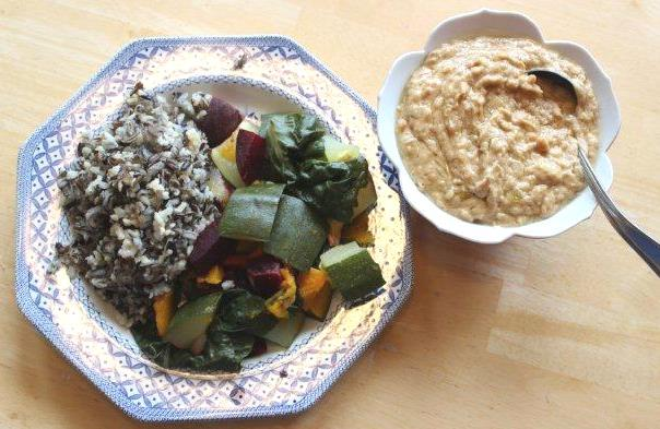 Fall Veg & Wild Rice with Peanut Butter Sauce