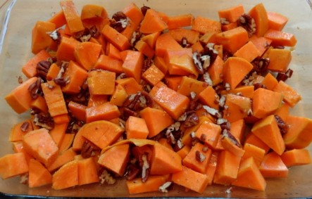 uncooked sweet potato and pecans