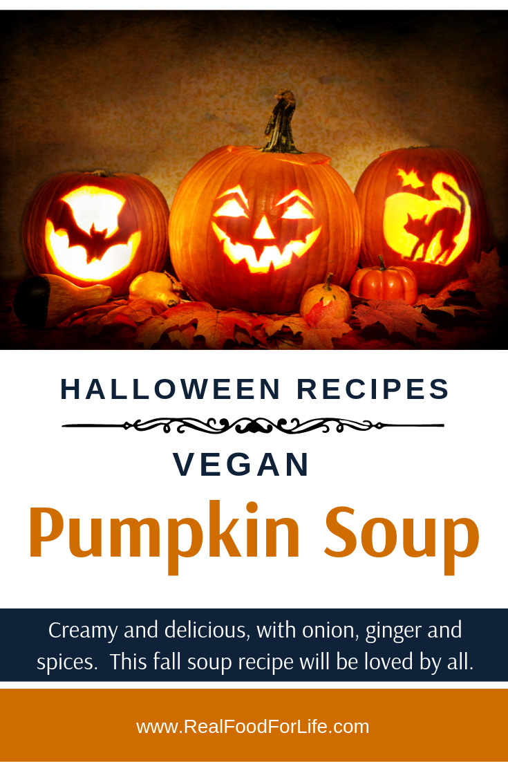 A halloween soup recipe perfect for fall family meals. Vegan pumpkin soup with toasted pumpkin seeds. Spicy and creamy, yet a good vegan soup recipe for halloween. Halloween soup recipes made with pumpkins or other squash are a great way to add color and vitamins to each fall meal.