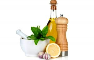 salad dressing recipe ingredients, lemon, pepper, herbs, garlic and oil