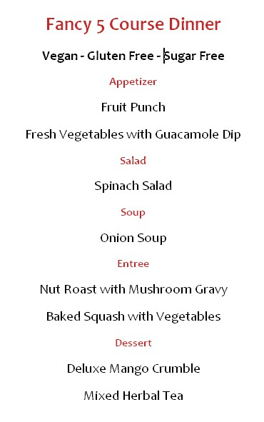 fancy five course menu
