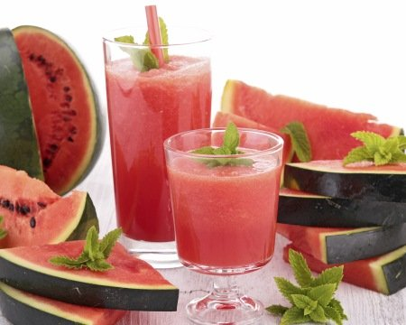 watermelon slices and juice