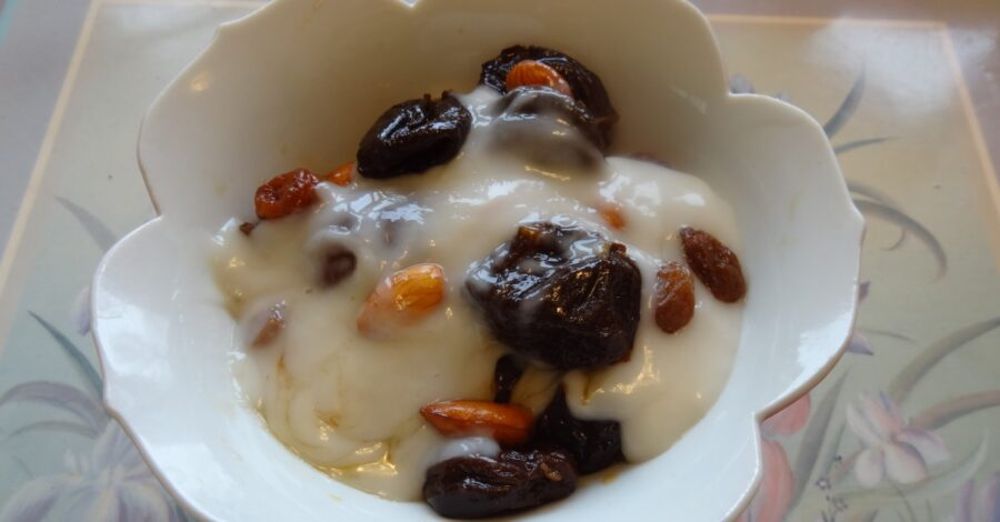 Photo of Sweet Prune Fruit Pudding with Custard is Delicious