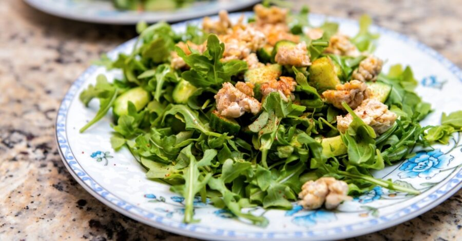 Photo of Tempeh Arugula Salad With Cucumbers Is Tasty